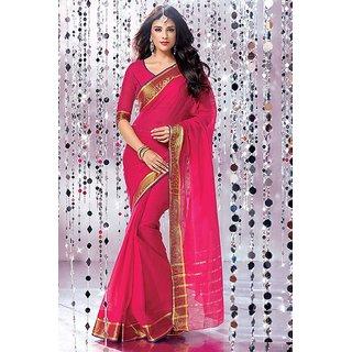 Velvi Pink Cotton Saree with Blouse Piece