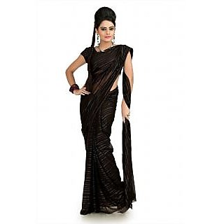 Black chiffon jacquard saree with blouse (krs987)