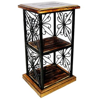 Onlineshoppee Wood Iron Book Shelf cum End table 2Shelves(LxBxH-11.5x9.5x22)Inch