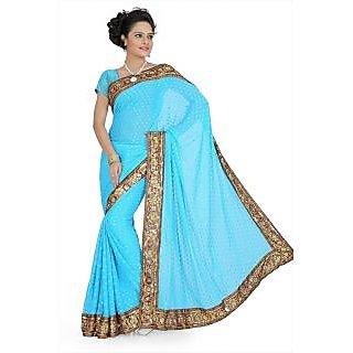 Aqua blue viscose saree with blouse (aps720)