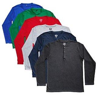 TSX Men's Multicolor Round Neck T-Shirt (Pack of 6)