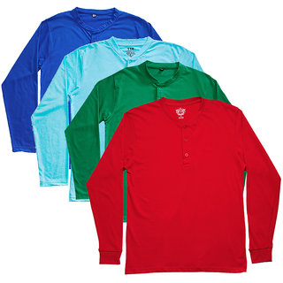 TSX Men's Multicolor Round Neck T-Shirt (Pack of 4)