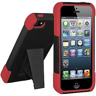 Amzer 95436 Double Layer Hybrid Case with Kickstand - Red/ Black iPhone 5
