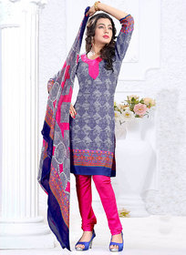 Swaron Gray And Blue Crepe Plain Salwar Suit Dress Material (Unstitched)