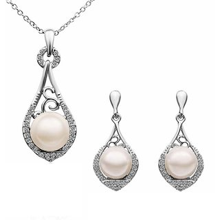 Aaishwarya Drop Water White Gold Plated Rhinestone Pendant Set(AA0714PS319)