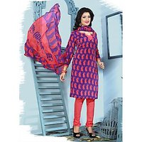 Swaron Peach Georgette Lace Salwar Suit Dress Material (Unstitched)