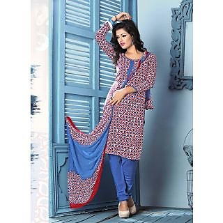 Swaron Red And Blue Crepe Floral Salwar Suit Dress Material (Unstitched)