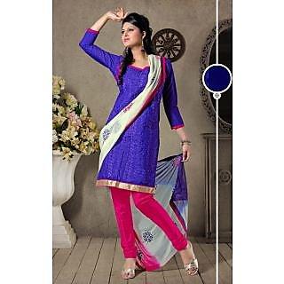Riti Riwaz Purple Designer Dress Material With Dupatta