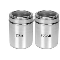 Set of 2 Tea and Sugar See through canisters - Size 9