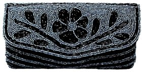 Anshul Fashion Grey & Black Embellished Satin Clutch/Wallet