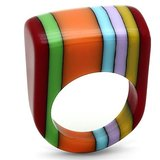 IDD's Funky Orange, Green And Blue Resin Ring