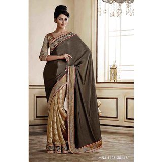 Grey Chiffon;Jacquard Traditional Saree with Gold Blouse  ITEM DESCRIPTION: