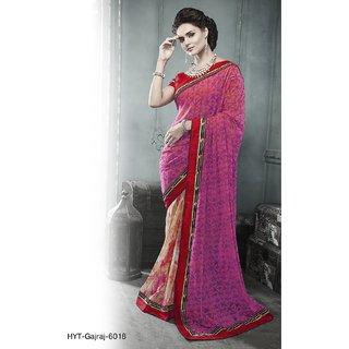 Pink Cream Georgette Digital Print Saree Maroon Blouse