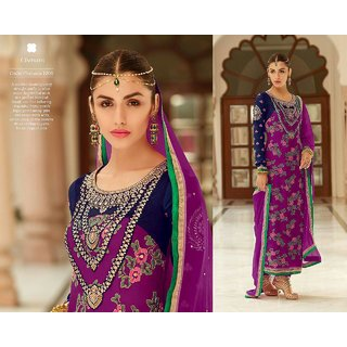 EXCLUSIVE PUNJABI BAZZAR PARTY WEAR COLLECTION OF SEMISTICHED SUITS