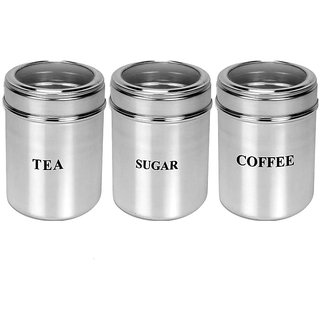 Set of 3 Tea, Coffee and Sugar See through canisters - Size 9