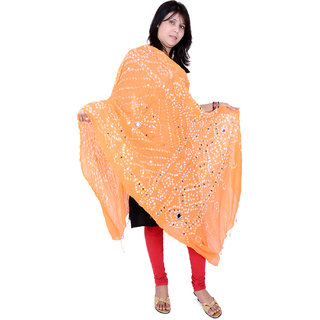 Rajasthani Bandhani   Orange DupattaTraditional Mirror work