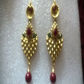 brt jewellery+ethnic earings+1 gram gold+gold plated jewellery+gold colour