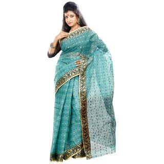 B3Fashion Traditional Handloom Bengal Tant Sea green coloured cotton saree