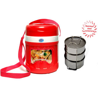 Hot Lunch Box With 3 Pcs. Stainless Steel Containers  sc 1 st  ShopClues.com & Lunch Box With 3 Pcs. Stainless Steel Containers Aboutintivar.Com