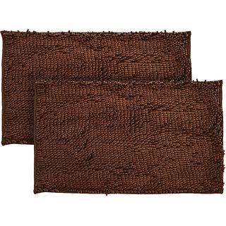 Just Linen Pair of Chenille Pom Pom Antiskid Saddle Brown Floor Mats