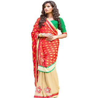 RED & BEIGE COLOUR GEORGETTE SAREE WITH FANCY PALLU GR 8201