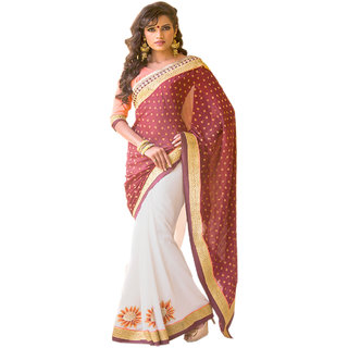 RED & WHITE COLOUR GEORGETTE SAREE WITH FANCY PALLU GR 8202