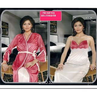 Hot 2pc Sleep Wear Night Slip Over Coat 337F New Pink Nightie Robe Bridal f54ea8380