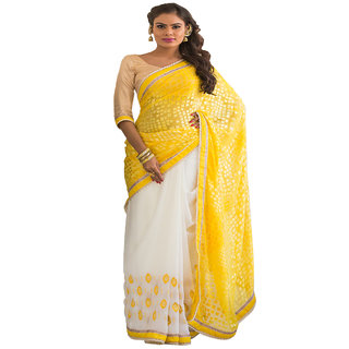 WHITE & YELLOW COLOUR GEORGETTE SAREE WITH FANCY PALLU GR 8206