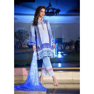 34ec0defd0 Yellowmist Blue Pakistani Embroidered Lawn With Chiffon Dupatta By Gohar  (Unstitched)