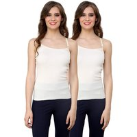 Renka Comfortable Off white Color Camisole/Tank Tops for Women(Pack of 2)