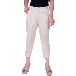 Lamora Cotton Lycra Solid Anckle Length Pant