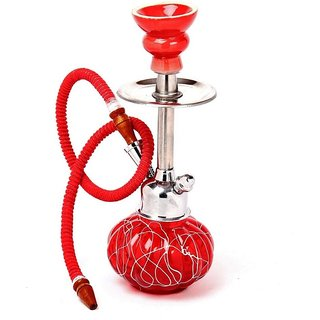Arsalan Designer Long Neck Red 12 Inch Glass Hookah