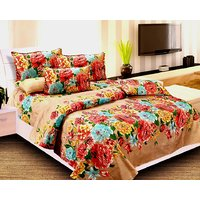 Attractive Printed Double Bed Sheet With Pillow Covers