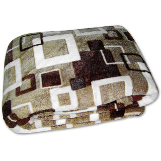 Looms Of India Square Print Mink Blanket  Double Bed Size- Bl-909