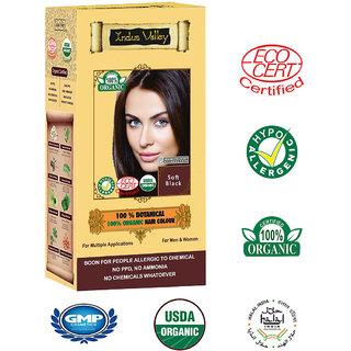 Indus Valley 100 Botanical Organic Healthier Hair Colour, SOFT BLACK