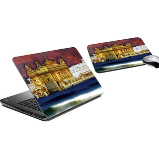 meSleep Golden Temple Laptop Skin And Mouse Pad