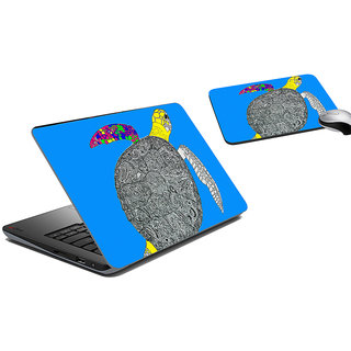 meSleep Turtle Ethnic Laptop Skin And Mouse Pad
