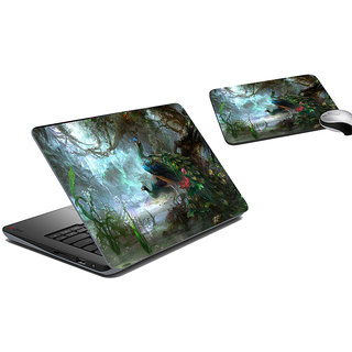 meSleep Peacock Jungle Laptop Skin And Mouse Pad