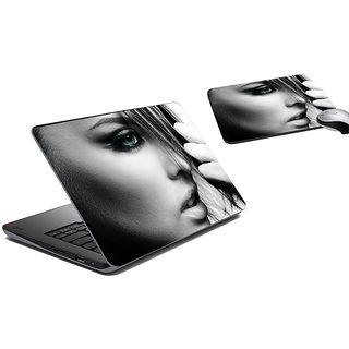 meSleep Beatiful Face Laptop Skin And Mouse Pad
