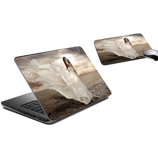 meSleep Lady In White Laptop Skin And Mouse Pad