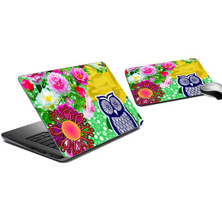 meSleep Owl Floral Laptop Skin And Mouse Pad