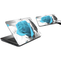 MeSleep Blue Rose Laptop Skin And Mouse Pad