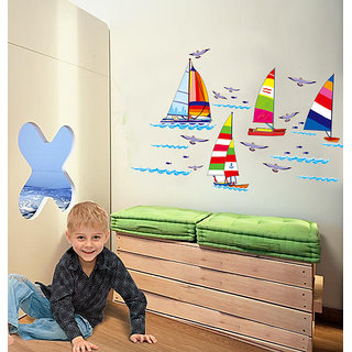 Asmi Collections Wall Stickers Wall Stickers Boat in Sea for Kids Room
