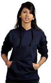 Campus Sutra Women's Black Hooded Sweatshirt