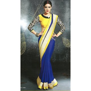 Blue and Yellow Partywear, silk chiffon saree with grand blouse