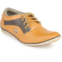 Foot N Style Men's Orange Lace-Up Casual Shoes
