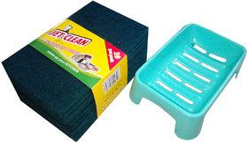 Set Of 10 Green Scrub  1 Soap Case (Both Large Size)