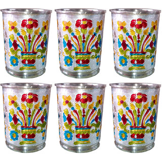 Decorative Meenakari art Metal Glass - set of 6