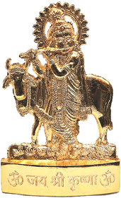 Gold Plated Cow With Krishna Idol - 3 Inches