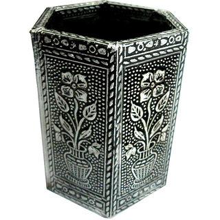 Handmade decorative Penstand - oxidised silver
